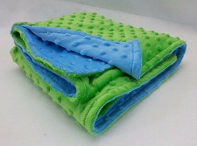 Handmade Minky Baby Blanket - Lime Green and Turquoise Blue