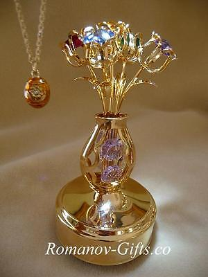 """Gold Russian Imperial Musical Easter BOUQUET """"Fur Elise"""" &  Egg Necklace"""