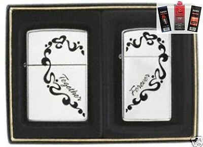 Zippo 0465 together forever 2 piece Lighter + FUEL FLINT & WICK GIFT SET