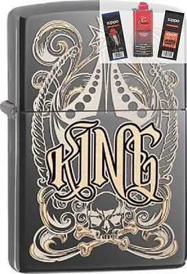Zippo 28798 king-venetian design Lighter + FUEL FLINT & WICK GIFT SET