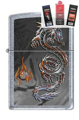 Zippo 3538 Dragon and Flame Lighter + FUEL FLINT & WICK GIFT SET