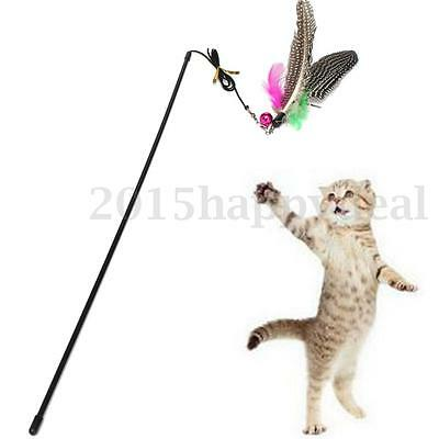 49cm Kitten Cat Pet Toy Chaser Wand Teaser Feather With Bell Beads Play Fun UK