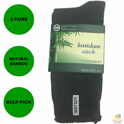 6 Pairs BAMBOO SOCKS Men's Heavy Duty Premium Thick Work Socks Cushion BULK New