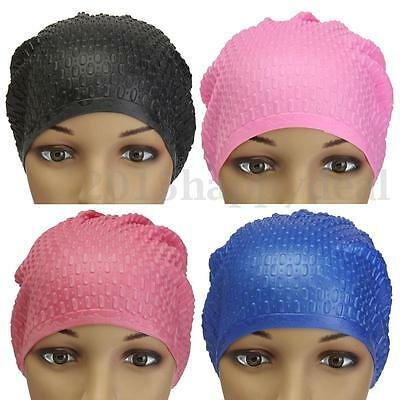 Unisex WaterProof Drop Silicone Stretch Swim Hat Swimming Long Hair Cap Protect