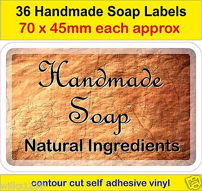 No2 Handmade Soap Making Labels x36 adhesive vinyl Stickers Natural ingredients