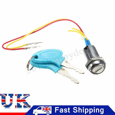 Blue Ignition Switch Lock Electric Mobility Scooter Bike Part Replacement+2 Keys