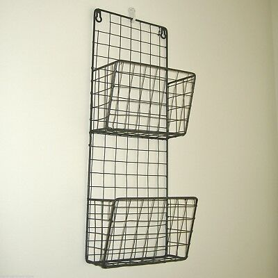 Metal Wire Magazine Letter Rack Wall Storage Basket Vintage Industrial Style NEW