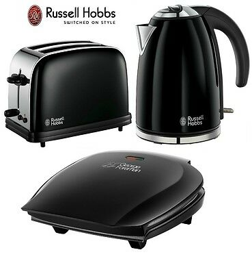 Russell Hobbs Kettle and Toaster Set + George Foreman 5 Portion Grill Black New