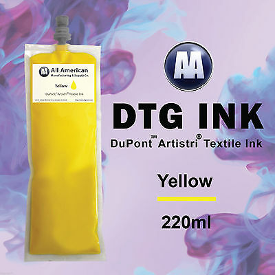 DTG Ink Yellow 220ml DuPont Artistri Ink for Direct to Garment Printer Neo Bag