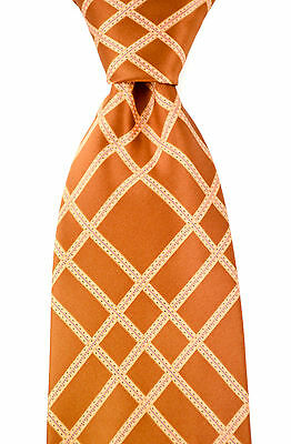 "New STEFANO RICCI Italy 3.5"" Handmade Copper Geometric Woven Silk Tie MSRP $250"
