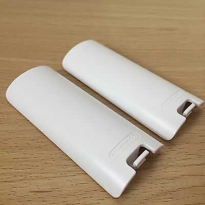 2x OFFICIAL Nintendo Wii White Battery Cover | Case Back for Remote Controller