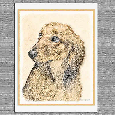 6 Dachshund Longhaired Red Dog Blank Art Note Greeting Card