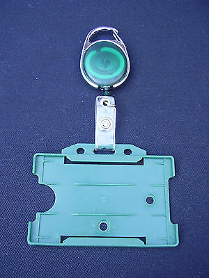 Green Retractable Belt Clip Reel+Paramedic/First Aider ID Pass Card/Badge Holder