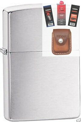 Zippo 200 brushed chrome full size Lighter + FUEL FLINT WICK POUCH GIFT SET