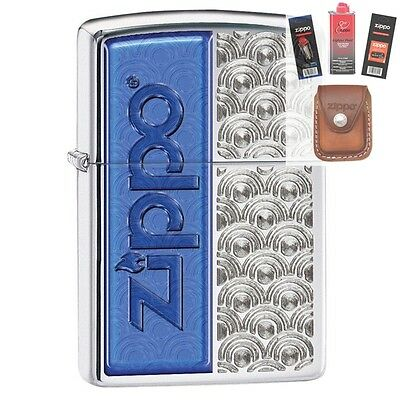 Zippo 28658 scallops with Lighter + FUEL FLINT WICK POUCH GIFT SET