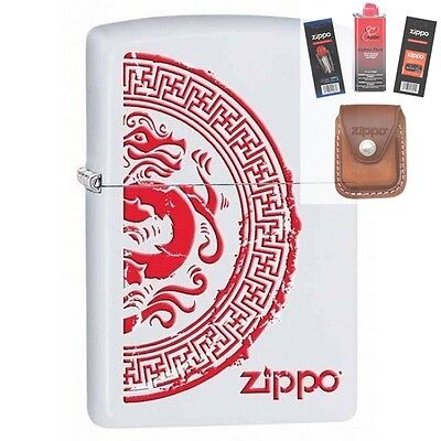 Zippo 28855 seal with dragon Lighter + FUEL FLINT WICK POUCH GIFT SET