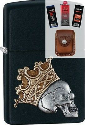 Zippo 29100 skull with crown Lighter + FUEL FLINT WICK POUCH GIFT SET
