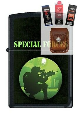 Zippo 7212 special forces Lighter + FUEL FLINT WICK POUCH GIFT SET