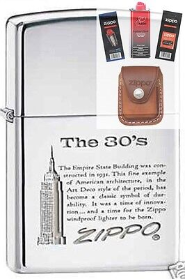 Zippo 7883 empire state building 30s Lighter + FUEL FLINT WICK POUCH GIFT SET
