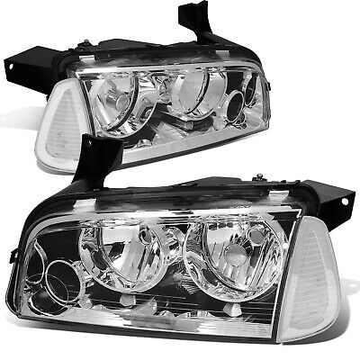 Fit 2006-2010 Dodge Charger Pair Chrome Houisng Headlight+Clear Turn Signal Lamp