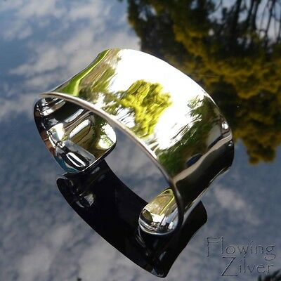 925 Sterling Silver Bracelet Bangle Wide Heavy Cuff Plain Broad Chunky Gift SP