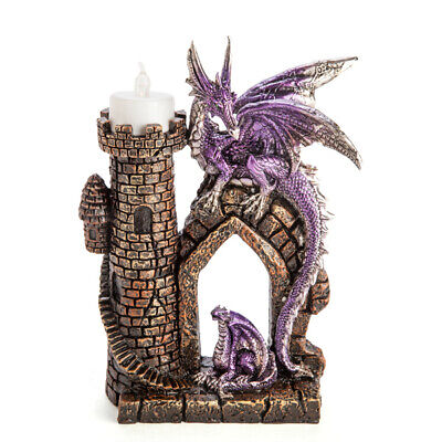 Purple Dragon with Tower  with LED Tealight - Ornament / Statue, GOTHIC FANTASY