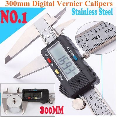 """300mm 12"""" Electronic Digital Caliper Stainless LCD Gauge Vernier Tool with Box"""