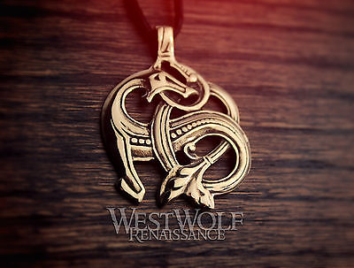 Viking Sea Dragon Pendant - Norse/Celtic/Knot/Beast/Gold/Bronze/Medieval/Jewelry