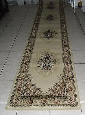 New Extra Long Cream Persian Design Heatset Hallway Floor Runner Rug 80X500Cm