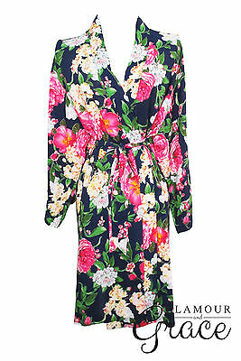 Navy Blue Floral Print Vintage Rayon Cotton Robe Dressing Gown Wedding Bride