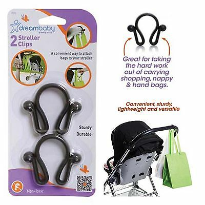 2x Dreambaby Stroller Pram Shopping Bag Handbag Hook Hanger Clips Dream Baby