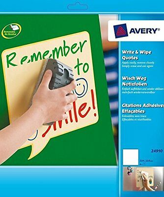 AVERY - 24910 - 4 feuilles jaunes effacables a sec adhesives et repositionnables