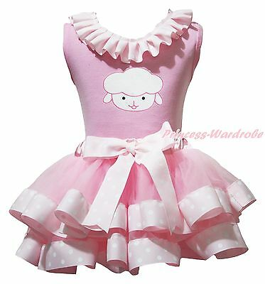 Easter Sheep Lacing Pink Cotton Top Dot Satin Trim Skirt Girls Outfit Set NB-8Y