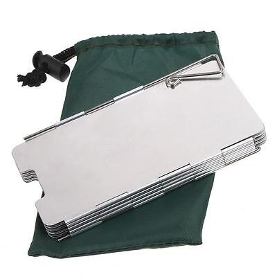 Durable 9 Plates Fold Outdoor Camping Stove Wind Shield Screen for Picnic J0O4