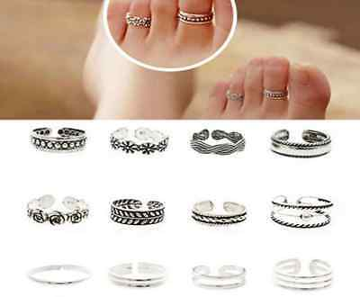 Set of 11 Adjustable Silver Toe Rings /Midi rings carving Foot Jewellry-Uk Selle