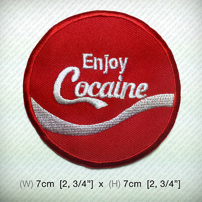 ENJOY COCAINE Iron-On Patch EMBROIDERED Coke Joke Funny lol DIY Clothes T shirt
