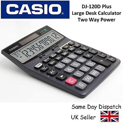 CASIO DJ120D PLUS + LARGE DESKTOP CALCULATOR -12 digit display,300 step recheck