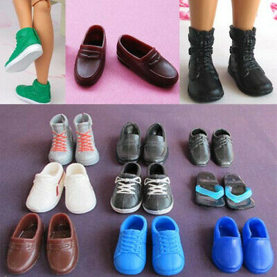 5pairs Plastic Boots shoes Flat Sports Sneakers For Barbie boy friend Ken dolls