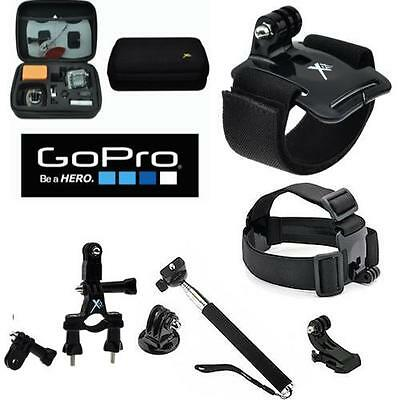 Gopro Hero4 Silver & Black All You Need Accessory Kit Hard Shell Case Head Mount