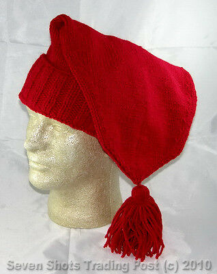 Hand Made Knitted Voyager Hat - Red - (French/Mountain Man) - Reenactor **NEW**