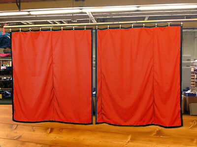 Lot of (2) Mandarin Orange Curtain/Stage Backdrop, Non-FR, 12 H x 11 W