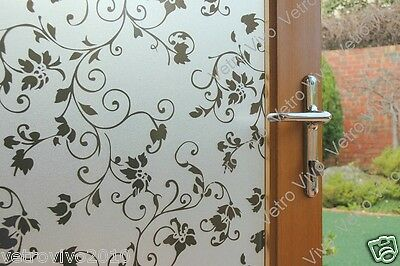 92 CM x 1 M - Black Floral Reapply/Reusable Static Frosted Window Glass Film