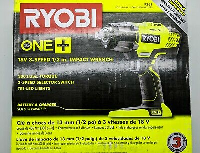 Ryobi P261 18V ONE+ 18-Volt 1/2 in. Cordless 3-Speed Impact Wrench (Tool-Only)
