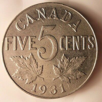 1931 CANADA 5 CENTS - Low Mintage Quality Coin - FREE SHIP - Canada Bin #A