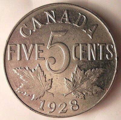 1928 CANADA 5 CENTS - Low Mintage Quality Coin - FREE SHIP - Canada Bin #A