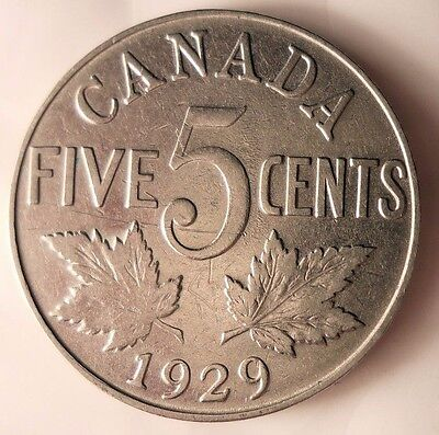 1929 CANADA 5 CENTS - Low Mintage Quality Coin - FREE SHIP - Canada Bin #A