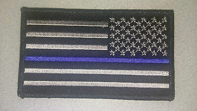 """Thin Blue Line USA Flag Patch velcro Patch New Police 3.5"""" X 2"""" Right side"""