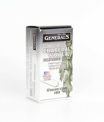 General Pencil Compressed Charcoal Sticks - Box Of 12 White