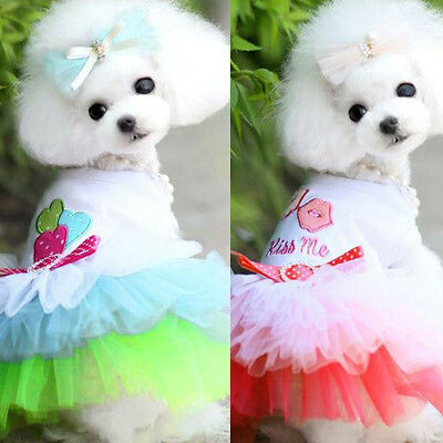 Pet Puppy Small Dog Cat Lace Skirt Princess Tutu Dress Clothes Costume Apparel