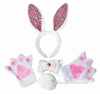 Easter Pink White Rabbit Bunny Ear Tail Paws Claw 4p Halloween Party Costume Set